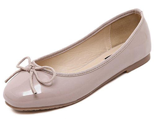 Fortuning's JDS Doux bowknot Solide Couleur Casual chaussures à semelle souple / rond-tête plat de la femme Rose