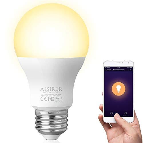 AISIRER Ampoule Connectée LED E27 Ampoule WIFI Ecologique 9W Blanc Compatible Avec Alexa Google Home IFTTT Télécommande Par Smartphone [Classe énergétique A+]