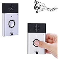 Wireless Intercom Doorbell, Electric Door Bell/Chime/Buzzer with Intercom System for Home,Flats,Office,Door,Bedroom.600ft Range,Kits Include 1 Transmitter and 1 Receiver (Silver)