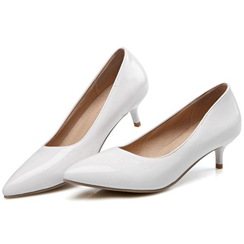 COOLCEPT Femmes Mode Sexy Talons de Chaton Escarpins for Soiree Mariage Robe Blanc