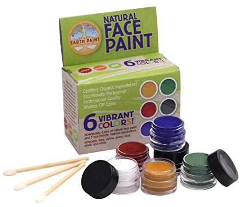 Natural Earth Paint kinderschminke ungiftig Natürliche Gesichtsfarbe Kit - 6 Farben und 3 Pinsel - kreativ & nachhaltig (Nicht Giftig Gesicht Malen)