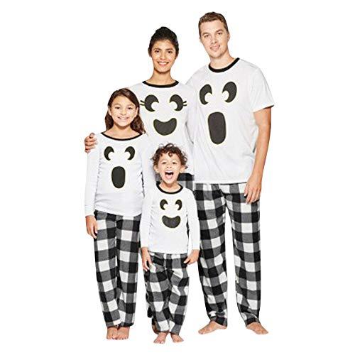 K-youth Ropa de Casa Conjunto de Pijamas Familiares Unisexo Pijamas de Halloween Familiares Ropa de Dormir Padre Hijo Manga Larga Tops y Pantalones Largos(Mujer, M)