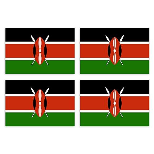 KIWISTAR Aufkleber 4,5 x 3 cm Kenia - Land Staat Autoaufkleber Flagge Länder Wappen Fahne Sticker Kennzeichen -