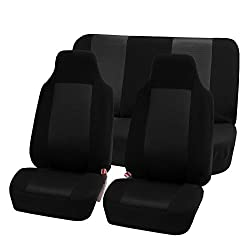 HOLIDAY SALE : FH-FB102112 Classic Cloth Car Seat Covers Universal Full Set / Complete Seat Black Color High Back Bucket - Fit Most Car, Truck, Suv, or Van