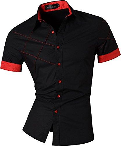 Jeansian uomo camicie manica corta moda men shirts slim fit casual fashion z003 black xxl