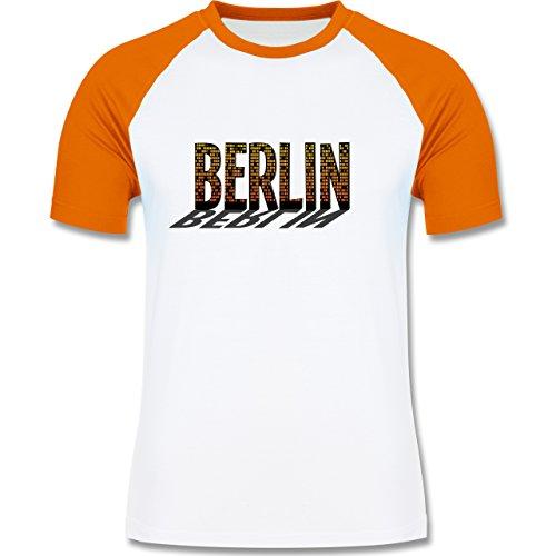 Städte - Berlin - zweifarbiges Baseballshirt für Männer Weiß/Orange