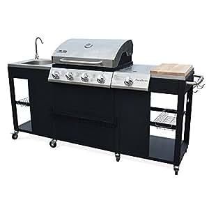 Alice's Garden - Barbecue, cuisine extérieure gaz - D'Artagnan - Barbecue 4 brûleurs + 1 feu latéral, inox et noir, évier, planche à découper bois, ustensiles, thermomètre