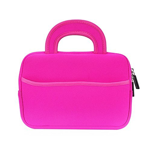 MoKo Universal Sleeve Hülle für 7-8 Zoll Amazon Tablet, Portable Neoprene Tasche für Fire HD 8 Kids Edition, Fire 7 Kids Edition 2017, Fire HD 8, Fire 7 2017, Kindle E-reader, Boogie Board Jot 8.5, Magenta