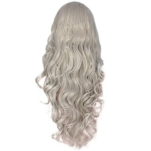 Damen Perücken Frauen lange gewellte Haare Perücke Silber dunkelgrau synthetische Lace Front Perücken Party (Braune Halloween Lange Haare Perücke)
