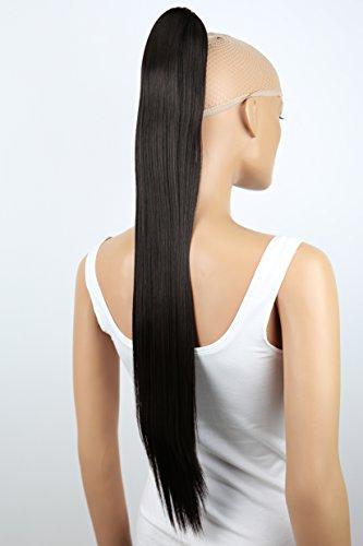 PRETTYSHOP Haarteil Zopf Pferdeschwanz glatt Haarverlängerung hitzebeständig wie Echthaar 70cm dunkelbraun #2 H170