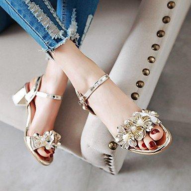 LvYuan Da donna Sandali Comoda Cinturino alla caviglia Suole leggere Vernice Estate Casual Formale Comoda Cinturino alla caviglia Suole leggere Silver