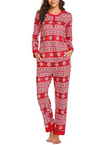 Damen Schlafanzug Weihnachten Pyjama Frauen Langarm stillen Baumwoll Familie Hausanzug rot