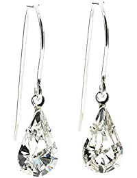 pewterhooter 925 Sterling Silver fishhook earrings expertly made with sparkling Diamond White teardrop crystal from SWAROVSKI®. London gift box.