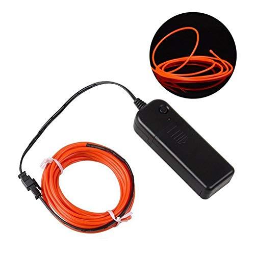 Volwco EL Wire Tragbare LED-Neon-Lichter, batteriebetrieben, elektrolumineszierender Draht, Leuchtend, dekoratives Licht, für St. Patrick's Day Weihnachten, Party, Pub, DIY Dekoration, 5 m Orange
