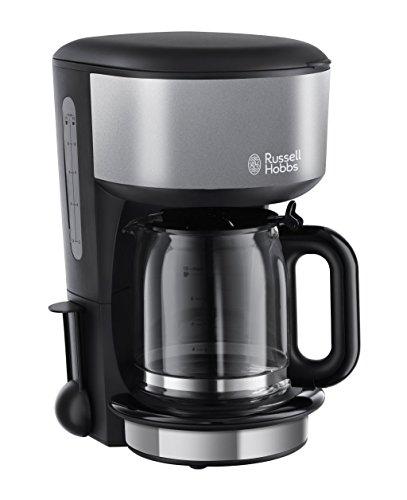 Russell Hobbs 20132-56 Colours Plus+ Storm Grey Glas-Kaffeemaschine mit Brausekopf-Technologie und Schnellheizsystem, schwarz/grau