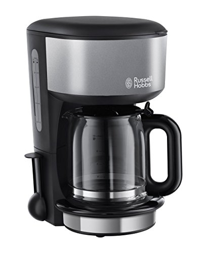 Russell Hobbs 20132-56 Macchina Caffè, Caraffa in Vetro, 1000 Watt, Acciaio Inossidabile, Nero/Grigio