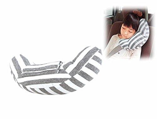 Foto de RSPrime Almohada de Coche Descoser Almohadilla Auto Almohada Cojín del Cinturón de Seguridad Automóvil Desmontable Cuello de Almohada Suave y Cómodo Protección del Hombro Ajustable para Seguridad de los Niños (Gris y Blanco)