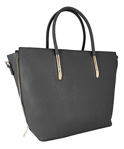 CRAZYCHIC - Borsa a mano donna - Zip oro e lati estensibili - Grande formato e lunga maniglia - Imitazione Saffiano pelle - Large Tote Hobo shopper bag - per studente lavoro i corsi Grigio