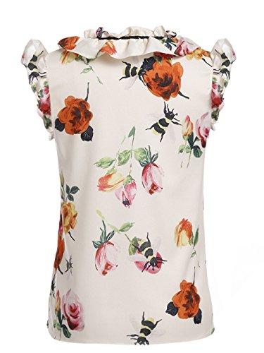 ACEVOG Damen Mädchen Sommerbluse Shirtbluse Rüschenbluse Ärmellos Blusentop mit Blumenaufdruck Weiß