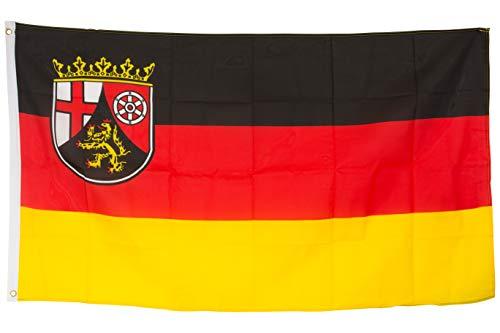 SCAMODA Bundes- und Länderflagge aus wetterfestem Material mit Metallösen (Rheinland-Pfalz) 150x90cm