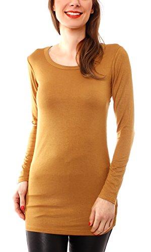 Damen Langarm T-Basic Shirt Lang Longshirt Langarmshirt Unterziehshirt Minikleid Unterkleid Rundhals Uni Curry S/M