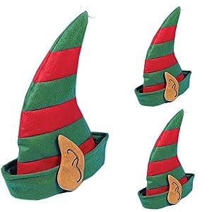 Shatchi 3455-ELF-HAT-3 piezas de orejas de elfo de Navidad, gorro de Papá Noel, accesorio para disfraz, decoración, rojo/verde