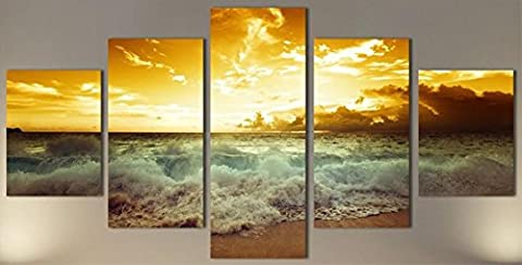 OBELLA New Top Wall Art Canvas Prints 5 Pieces || Beach Sunrise Waves || Modern Contemporary Posters Oil Paintings Prints and Pictures Photo Image Wall Art Prints on Canvas Painting for Home Bedroom Living Room Wall Decor Christmas Gifts Decoration - Frameless