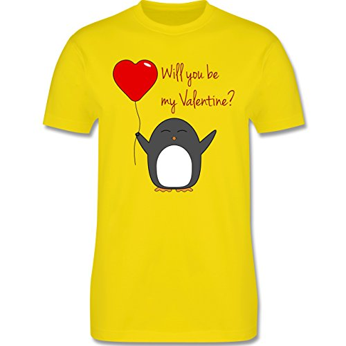 Valentinstag Geschenk Frauen - Will you be my Valentine - Pinguin - Herz - Luftballon - L190 - Premium Männer Herren T-Shirt mit Rundhalsausschnitt Lemon Gelb