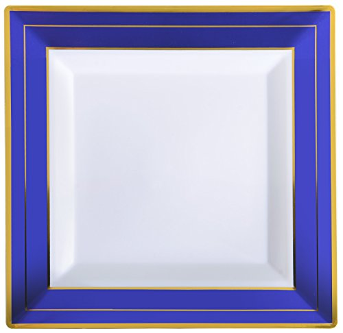 (Quadratisch Splendor 5507-wh-bg 18,4cm Dessertteller, quadratisch, mit Cobalt Folie Rand Detail (12Pack), weiß/blau)