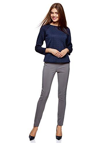 oodji Ultra Damen Sweatshirt aus Strukturiertem Stoff mit Zierreißverschluss Blau (7900N)