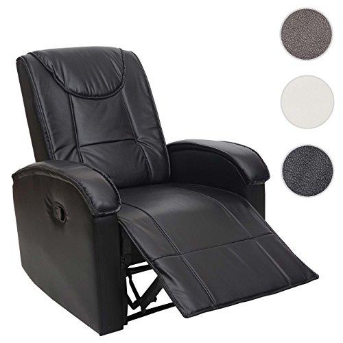 Mendler Fernsehsessel HWC-T964, Relaxsessel Sessel, Kunstleder 140kg belastbar ~ schwarz