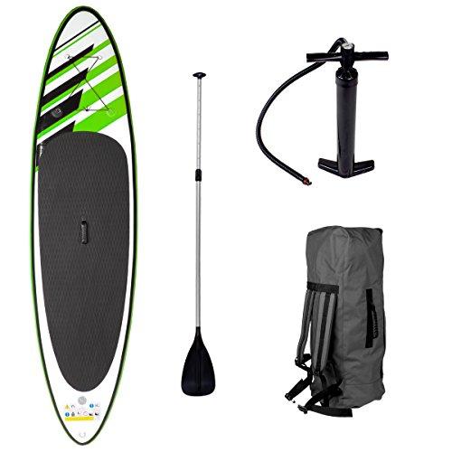 SUP Board Stand up Paddling Surfboard Deluxe 365x76x15cm aufblasbar Double-Layer Alu-Paddel Hochdruck-Pumpe Transportrucksack 140KG Tragkraft