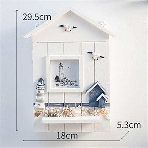 SDSFGS Kreative Dekoration Mittelmeer Massivholz Schlüsselkasten Schlüsselkasten Schrank Wandbehang Seevogel Seeturm Schlüsselhaus Aufbewahrungsbox@Leuchtturm Dekoration -