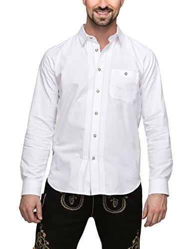Stockerpoint Herren Trachtenhemd Mika2, (Weiß), Large