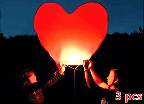 OBELLA Eco-Friendly Red Love Heart Sky Lanterns for Christmas, New Year, Chinese New Year, New Years Eve, Weddings & Parties, Valentines Day - Flying Sky Lanterns, Traditional Chinese Flying Glowing Lanterns - Red Color Heart Shape (3 x Red