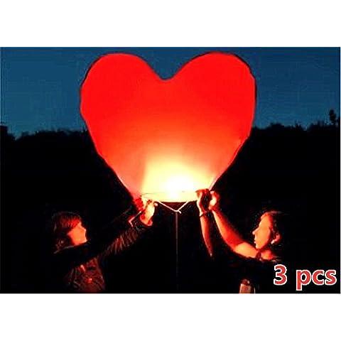 Obella lanterne Lanterna Kongming Eco Friendly Vintage per Natale, Capodanno, Capodanno cinese, Capodanno, matrimoni e feste, San Valentino Halloween–Lanterne volanti, cinese tradizionale fascio di lanterne volanti Red Heart