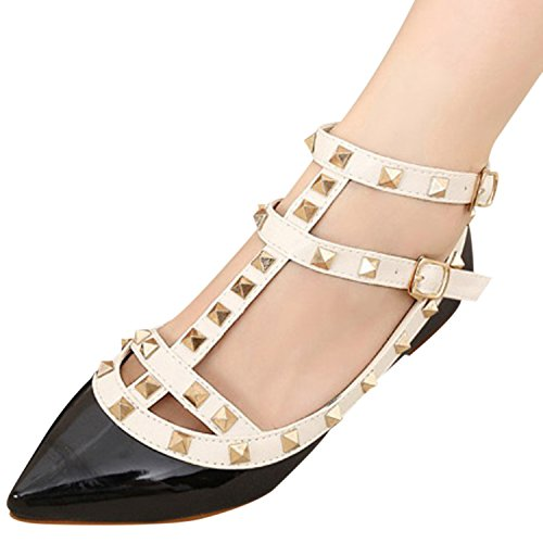 Oasap Women's Pointed Toe Rivet Buckle Flat Shoes white