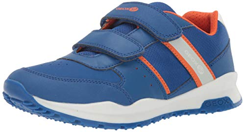 Geox Jungen Low-Top Sneaker CORIDAN Boy J925DA Kinder Halbschuh,Sportschuh,Klettschuh, Klett-Verschluss,ROYAL/ORANGE,35 -