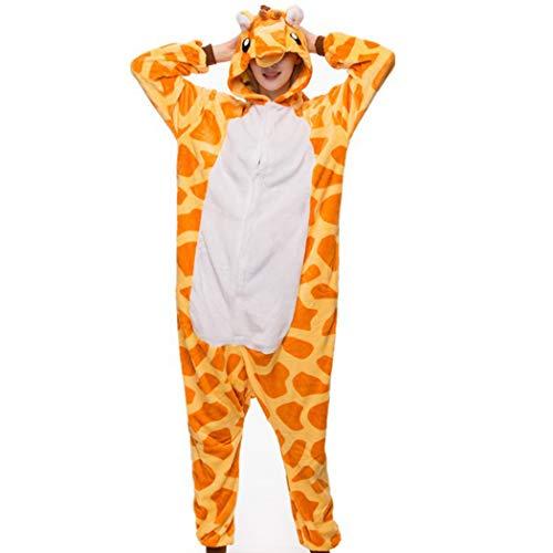 Zoylink Tierkostüm Pyjamas Onesie Pyjamas Weiche Flanell Cartoon Giraffen Pyjamas (Erwachsene Pyjama Einteilig Für)