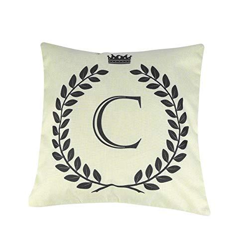 RoadRoman Unique Crown Letter Alphabet Pattern Cotton Linen Cushion Cover Decorative 45 * 45cm Pillowcase Chair Pillow Cover