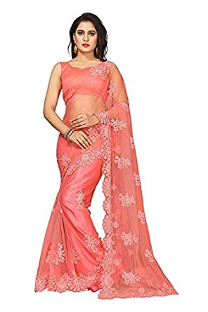 Surat Creations Women's Net Pearl Work Saree with Blouse Piece (SC_MNET_PP, Peach Pink, Free Size)