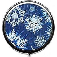 LinJxLee Snowflakes Christmas Round Pill Case Pill Box Tablet Vitamin Organizer Easy to Carry preisvergleich bei billige-tabletten.eu