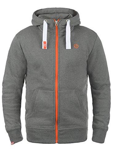 !Solid Benn High-Neck Herren Sweatjacke Kapuzenjacke Hoodie mit Kapuze Reißverschluss und Fleece-Innenseite, Größe:L, Farbe:Grey Melange (8236)