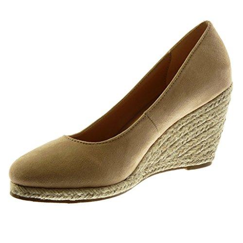 Angkorly Damen Schuhe Mule Espadrilles - Slip-On - Dekollete - Seil - Geflochten Keilabsatz High Heel 9 cm Beige
