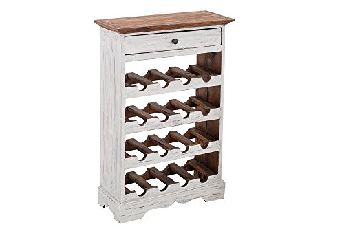DuNord Design Weinregal Holz Shabby weiß Flaschenregal Mahagoni 16 Flaschen CHALET Weinständer