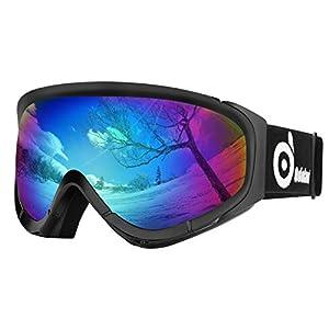 Odoland Skibrille, Ski Snowboard Brille Brillenträger Schibrille OTG UV-Schutz Kompatibler Helm Snowmobile Damen Herren Kinder für Skifahren