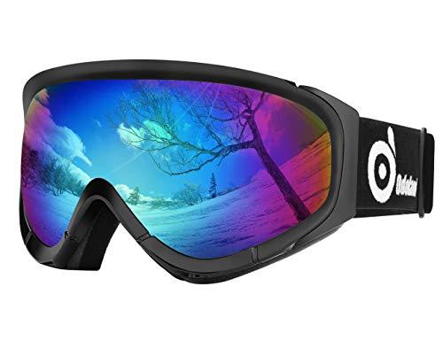 Odoland Lunettes de Ski Masque de Snowboard pour Homme & Femme Anti-UV404, Anti-Buée, Coupe-Vent, Lunettes de Protection avec Grande Lentille OTG Sphérique