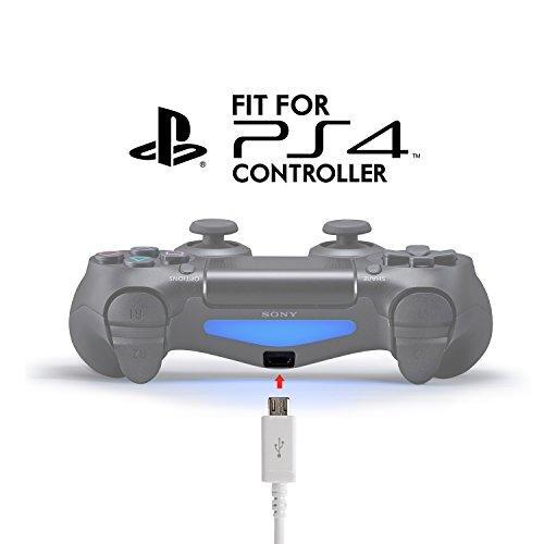 Exinoz® Cable de recarga de 4 m para PS4 DualShock y controlador para Xbox One Cable USB de Tamaño ideal para Playstation 4 y los Xbox Cable de alta calidad  garantía de sustitución de un año (2 Pack  Blanco)