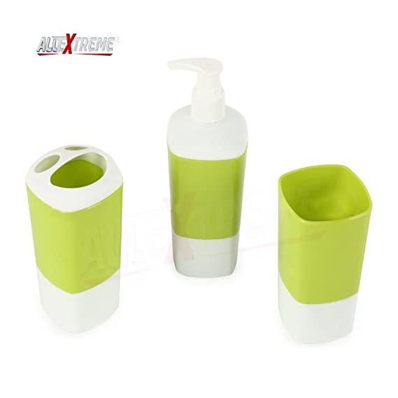 AllExtreme Bath Accessory Set, Soap Dispenser Pump, Toothbrush Holder, Tumbler - 3 Pieces ABS Plastic(Random Color)