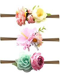 Bembika Baby Floral Headbands Hair Bows Elastic Bands for Newborn Infant Toddler Hairbands(Set of 3)